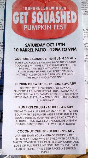 10 Barrel pumpkin fest beers