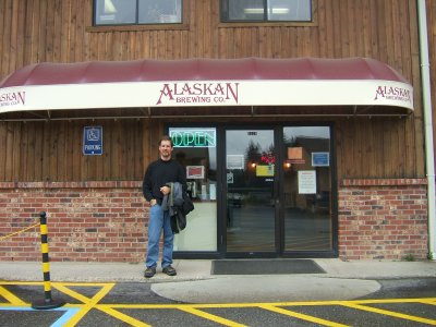 Jon standing in front of the Alaskan Brewing Company