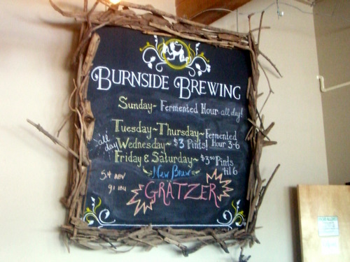 Burnside Brewing chalkboard