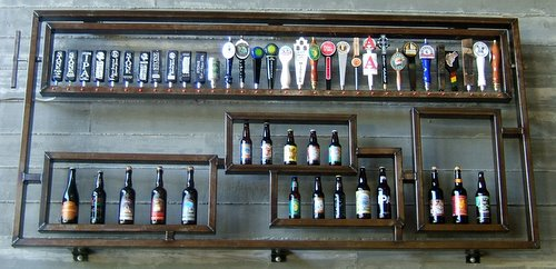 Stone Brewing bottle rack