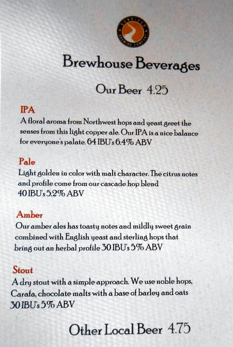 Sunriver Brewing beer menu