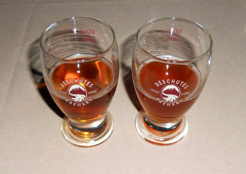 Deschutes and Rogue Barley Wine samples