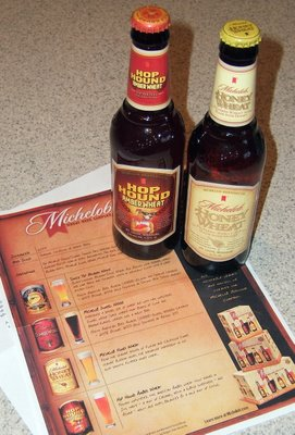 A pair of Michelobs: Honey Wheat and Hop Hound Amber Wheat