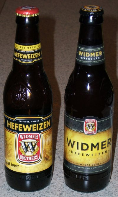 Widmer Hefeweizen old packaging and new packaging
